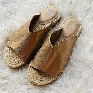 Eileen Fisher Milly Gold Metallic Espadrille Shoe